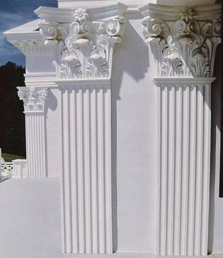"Chadsworth's Authentic Replication Wood Column Line -  Fluted, Half-Square, Non-Tapered Pilasters with Roman Corinthian  Pilaster Capitals & No Base Molding or Plinth.  24"" x 19'-08""."