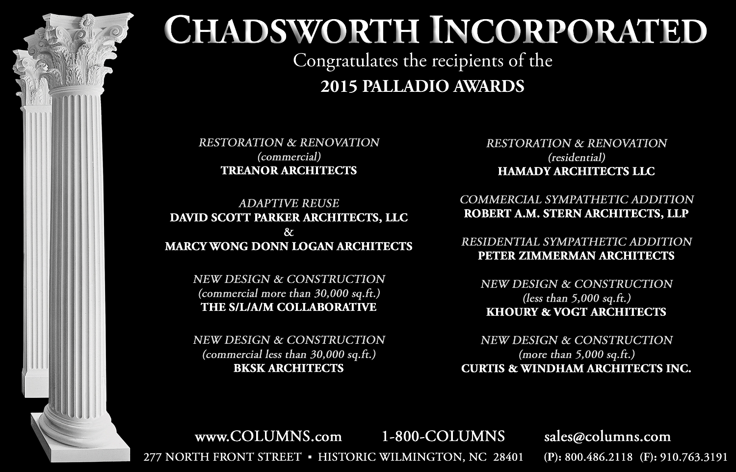 Chadsworth columns congratulates all of the winners of the 2015 palladio awards